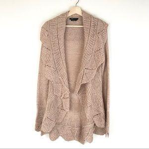 BCBG dusty light pink scalloped open knit cardigan